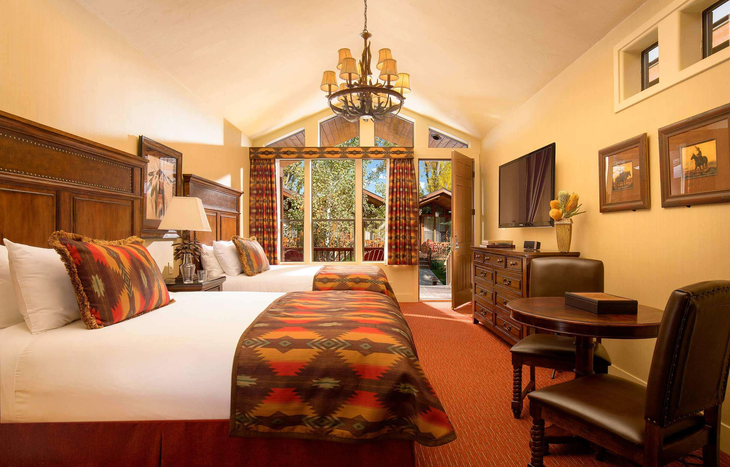 luxury hotel cabin with two queen beds