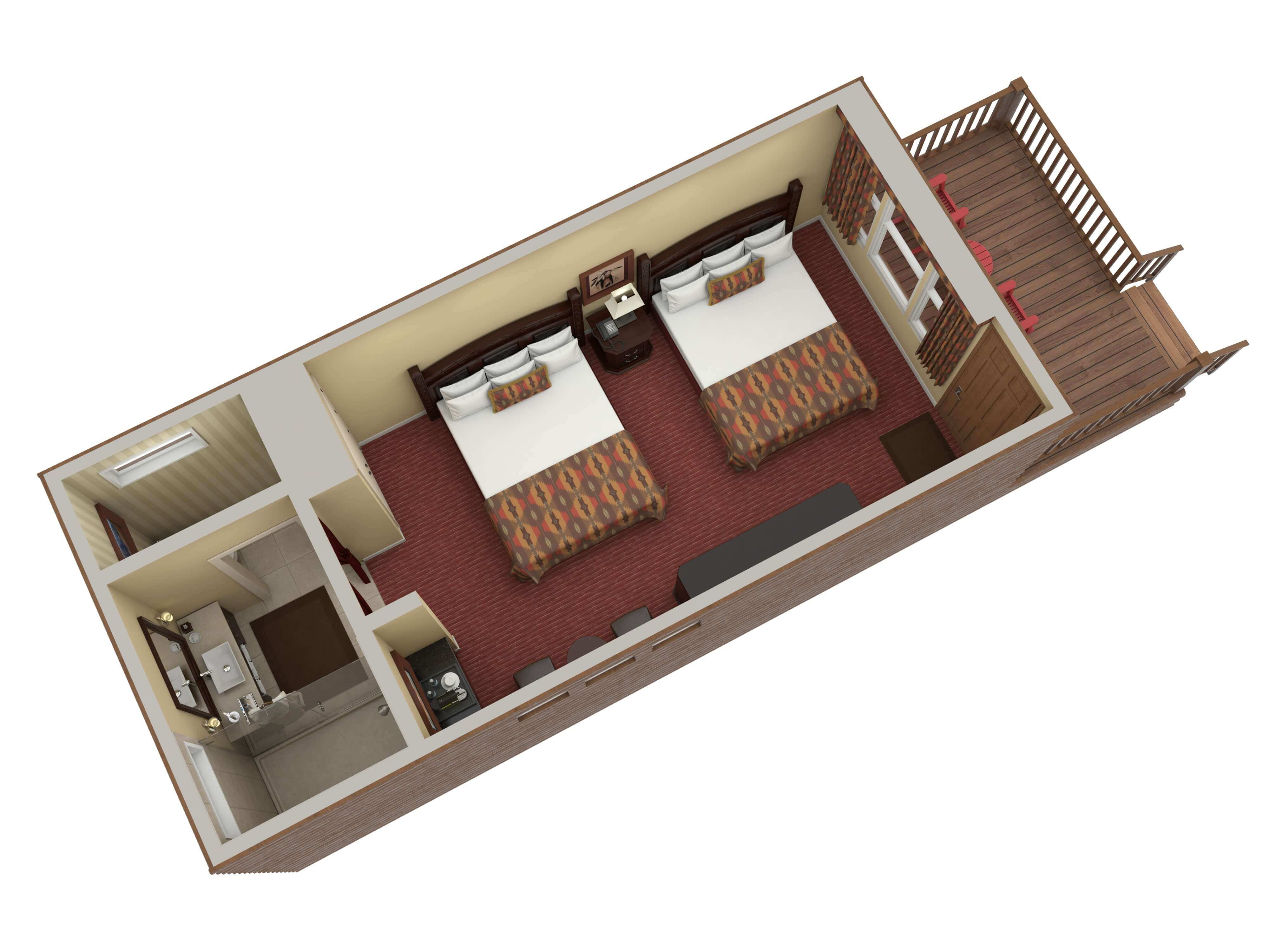 digital image of top down view of luxury cabin with two queen beds