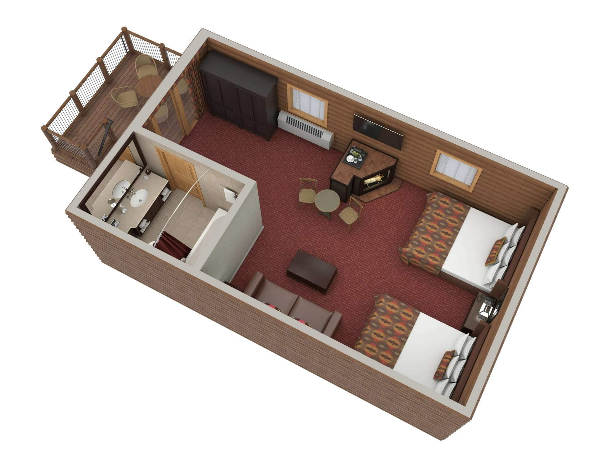 digital image of top down view of luxury cabin with two queen beds and fireplace