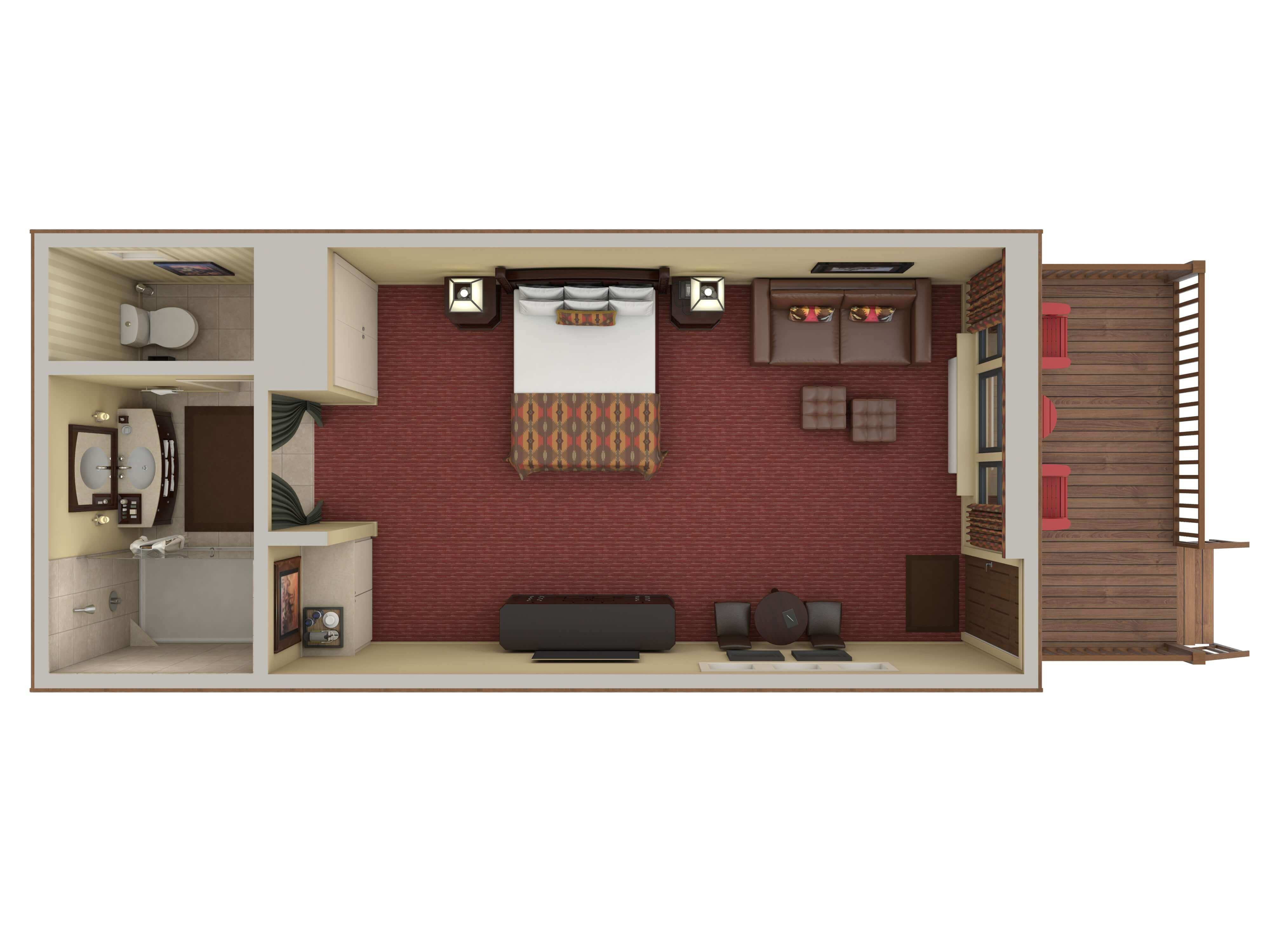 digital image of luxury hotel cabin with king bed looking from above