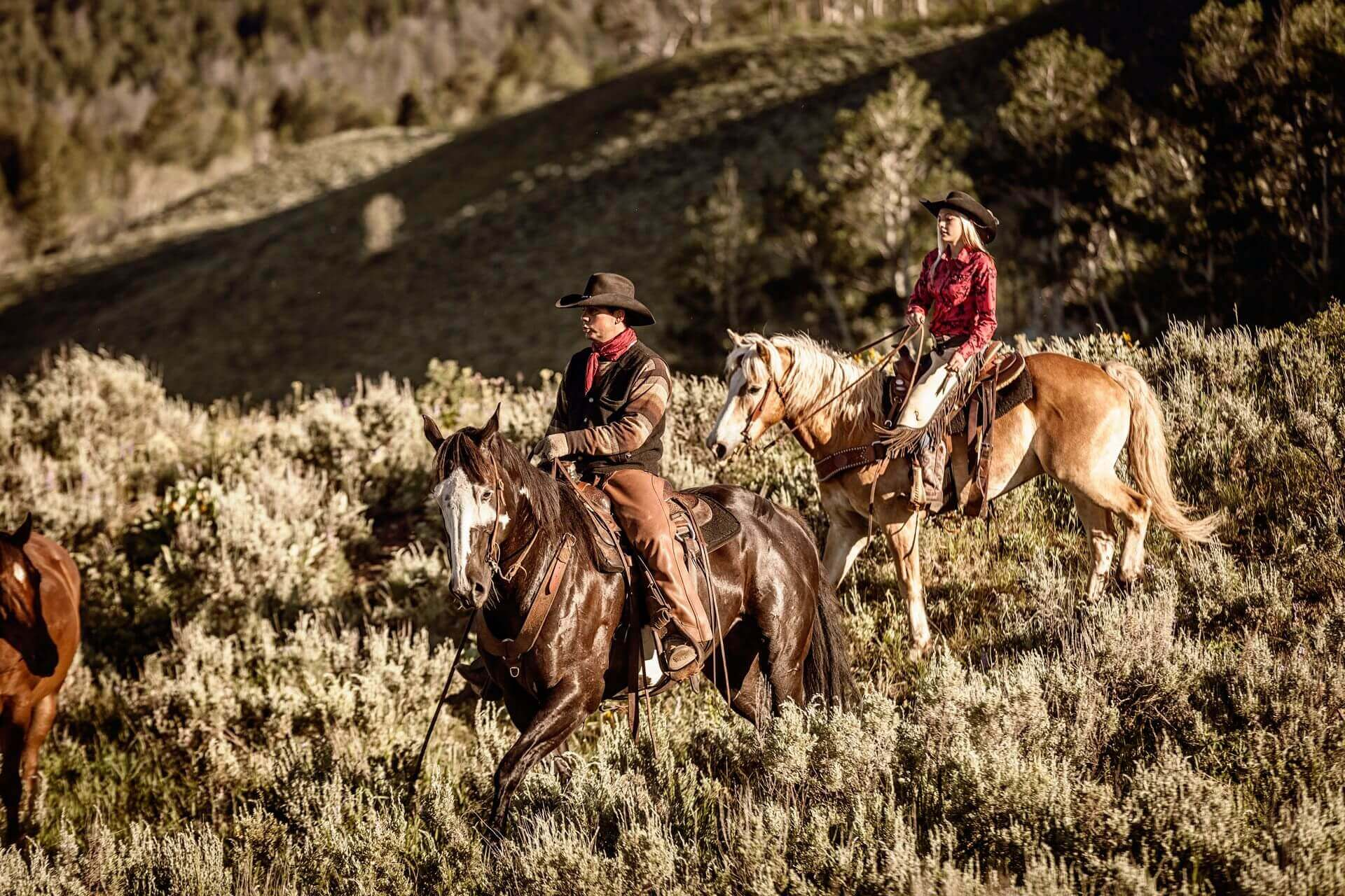 Man and woman horseback riding in the mountains