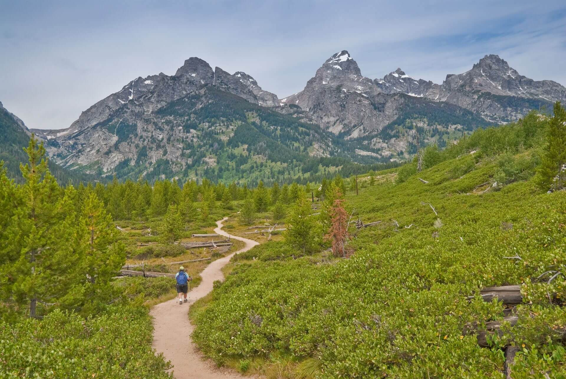 man hiking through woods and mountains on trail