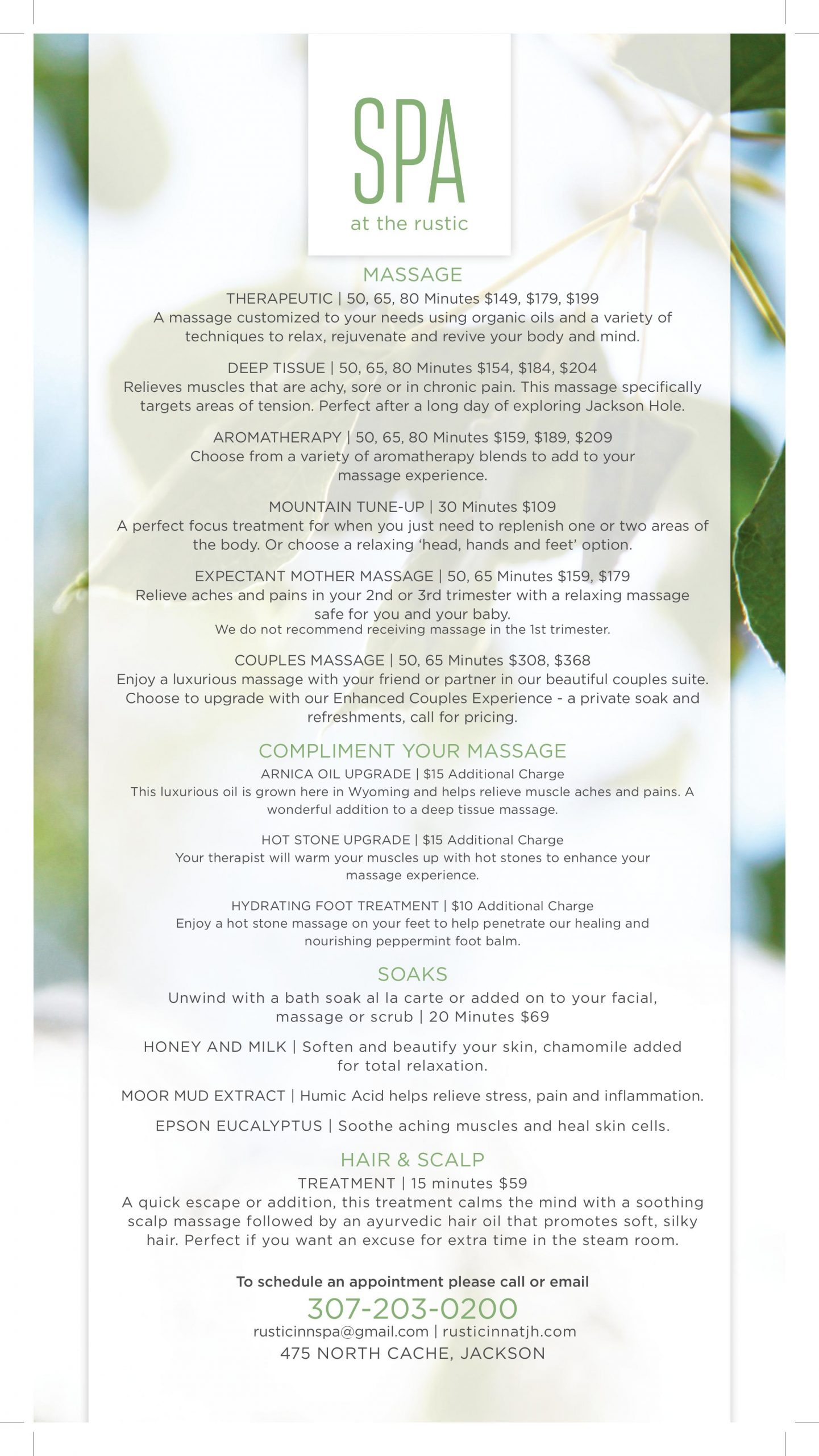 Spa menu and pricing for Rustic Inn
